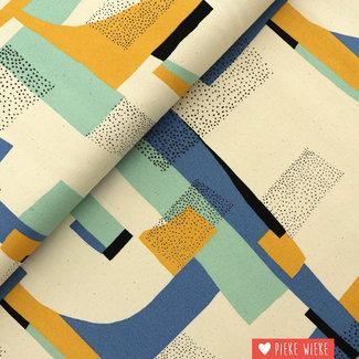 Katia Canvas Gold abstract Aqua