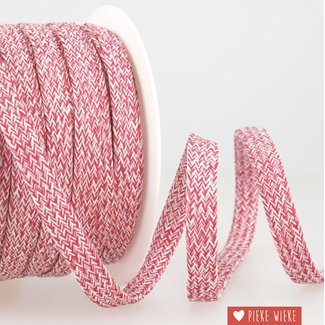 Flat cord mélange Raspberry white