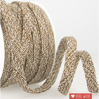 Flat cord mélange Brown white