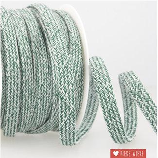 Flat cord mélange Green white