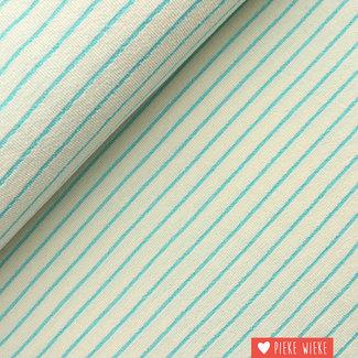 Katia Terry cloth Striped Ecru - aqua