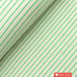 Katia Spons gestreept Ecru - fluo groen