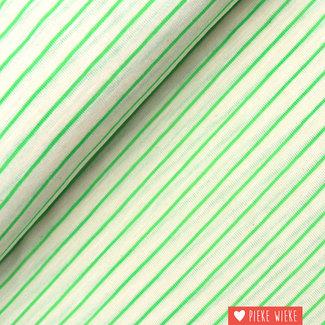 Katia Fine jersey striped ecru - fluo green