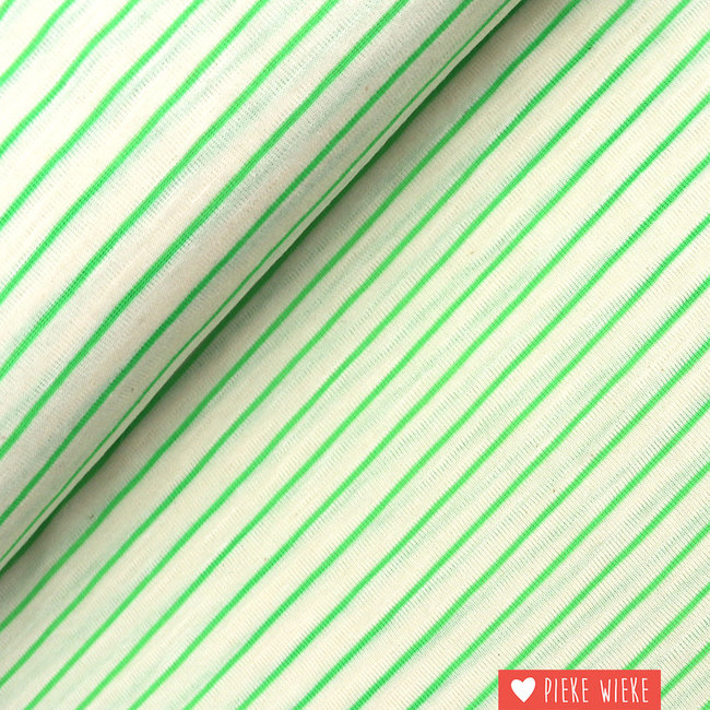 Katia Fijne tricot gestreept Ecru - fluo groen