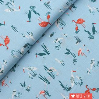 Katia Cotton Salinas Birds blue