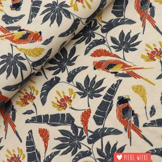Bamboo jersey Sarah parrot Beige