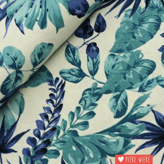 Linen blend Tropical Blue