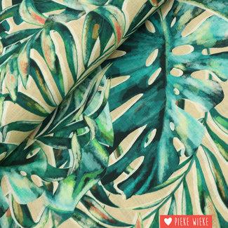 Viscose linnen Fern leaves Green