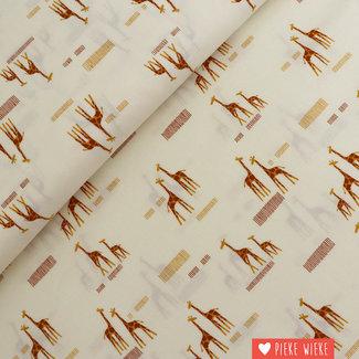 Moda Katoen Safari life giraf Off white