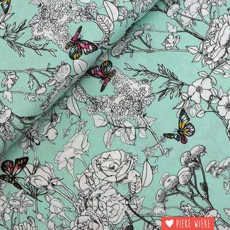 Art Gallery Katoen Colourful butterfly Mint