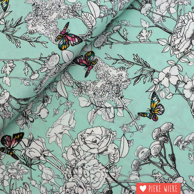 Art Gallery Cotton Colourful butterfly Mint