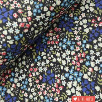 Kokka Double Gauze Flowers Blauw groen