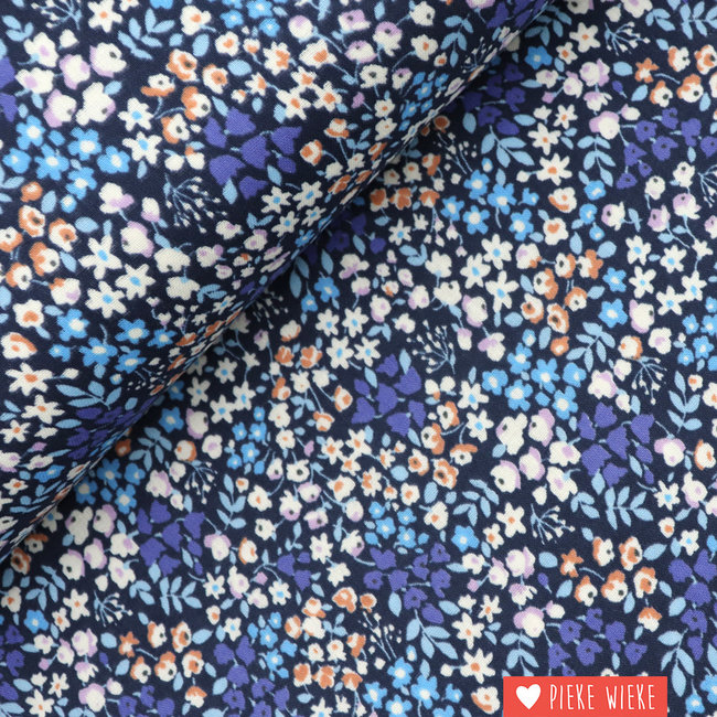 Kokka Double Gauze Flowers Blauw paars