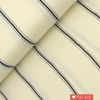 Fibre Mood Double gauze cotton striped Black
