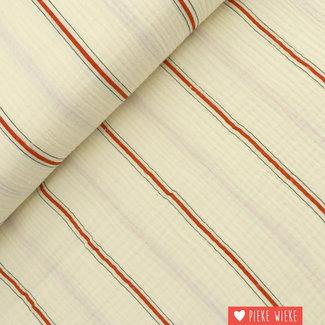 Fibre Mood Double gauze cotton Striped Red