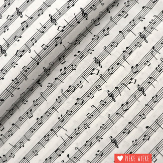 Cotton Music Notes Black and White