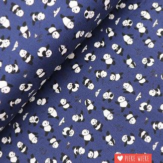 Kokka Katoen Happy pandas Blauw