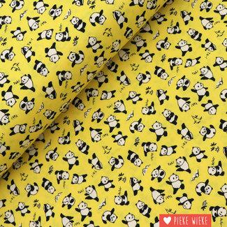 Kokka Cotton Happy pandas Yellow