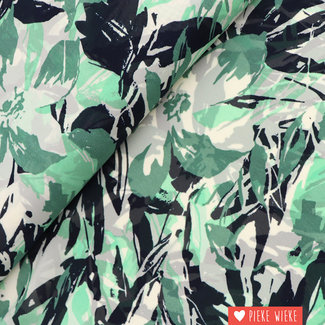Semi Crepe Floral Green-black