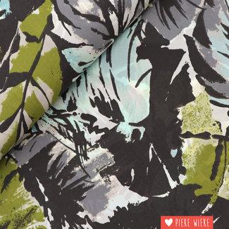 Semi Crepe Floral Grijs turquoise