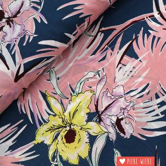 Katoen lawn Bloemen roze petrol