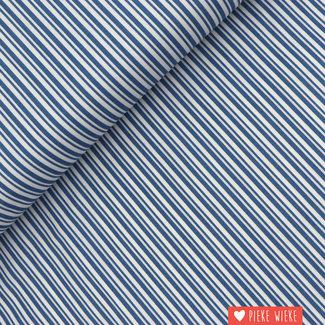 Katoen Dubbele streep Blauw