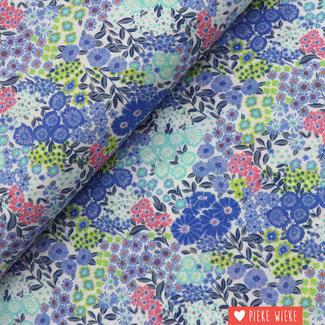 Voile cotton Flower garden Blue