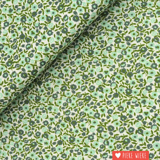 Voile cotton Little flowers Green
