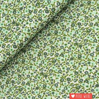 Voile katoen Little flowers Green