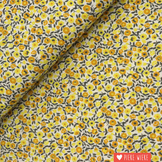Voile cotton Little flowers Yellow