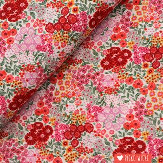 Voile cotton Flower garden Pink