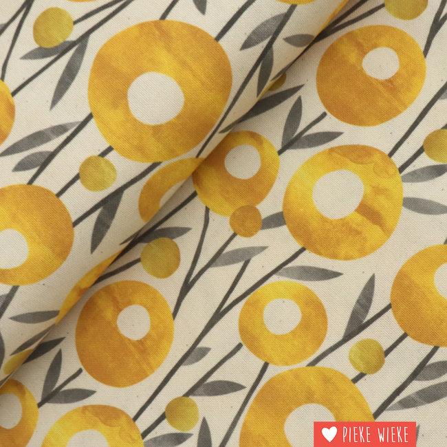 Canvas Circle flowers Yellow