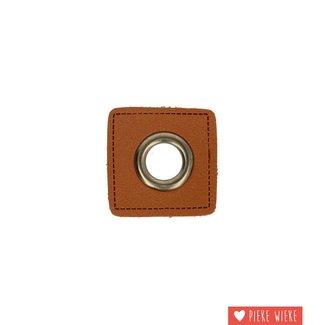 Zeilring 11mm op kunstleer bruin