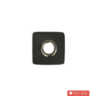 Zeilring 11mm op kunstleer zwart