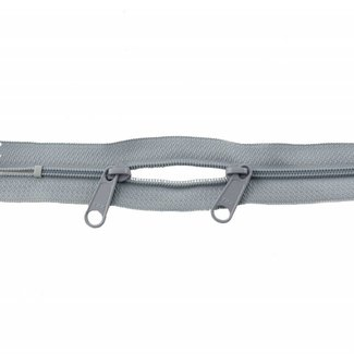 YKK Coil zipper 75cm with double pull (O-type) Light grey