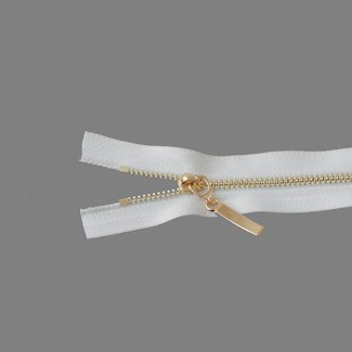 K-Bas Fine metal zipper Light gold 25cm Off white
