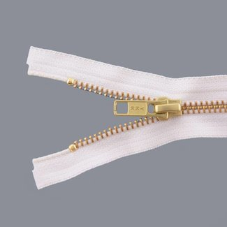 YKK Metal zipper Brass 45cm Off white