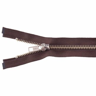 YKK Metal zipper Nickel 45cm Mid brown