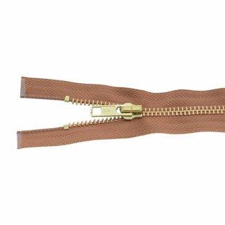 YKK Metal zipper Brass 45cm Cognac