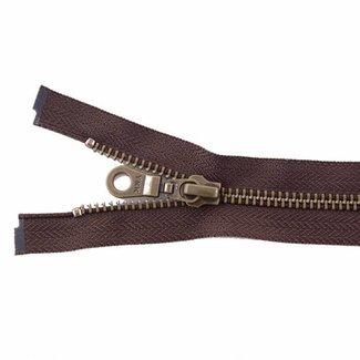 YKK Metal zipper Anti-Brass 45cm Dark brown