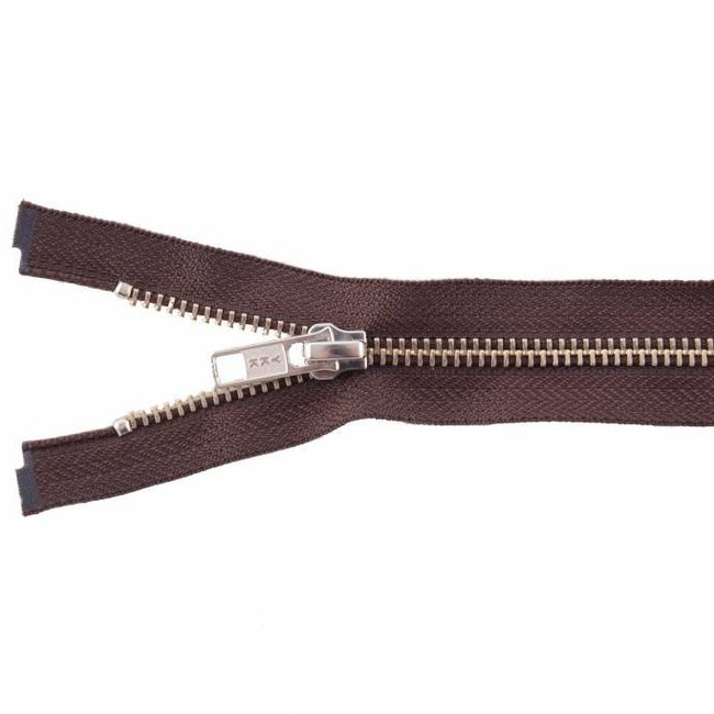 YKK Metal zipper Nickel 65cm Mid brown