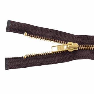 YKK Metal zipper Brass 65cm Mid brown