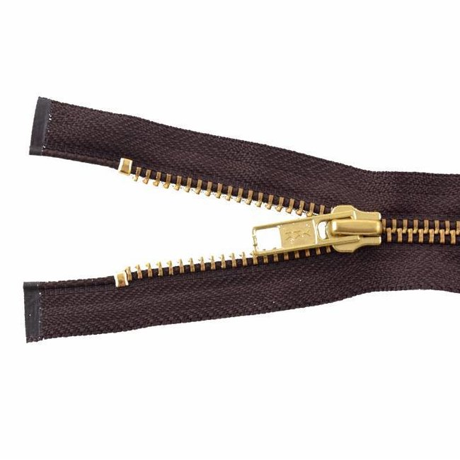 YKK Metal zipper Brass 65cm Mid brown