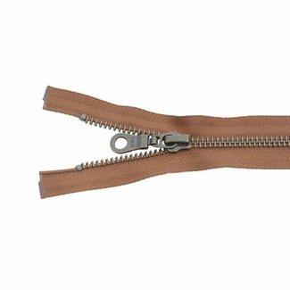 YKK Metal zipper Anti-Brass 65cm Cognac
