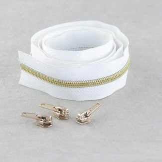 Snaply Coil zipper 100cm White with gold