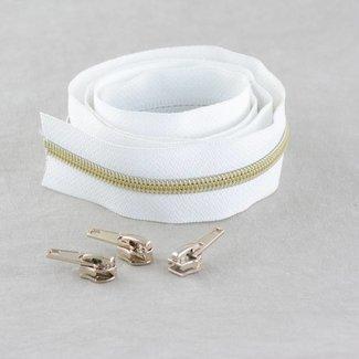 Snaply Niet-deelbare spiraalrits 100cm Wit met goud