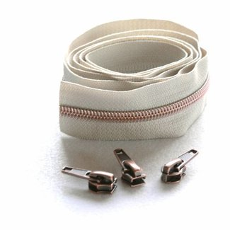 Snaply Coil zipper 100cm Beige with copper