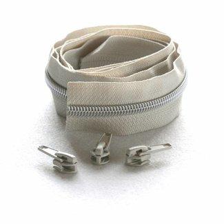 Snaply Niet-deelbare spiraalrits 100cm Beige met zilver