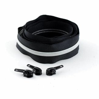 Snaply Coil zipper 100cm Black with silver