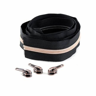 Snaply Niet-deelbare spiraalrits 300cm Zwart met koper